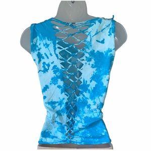 Custom Made Distressed Top Tie Dye Blue